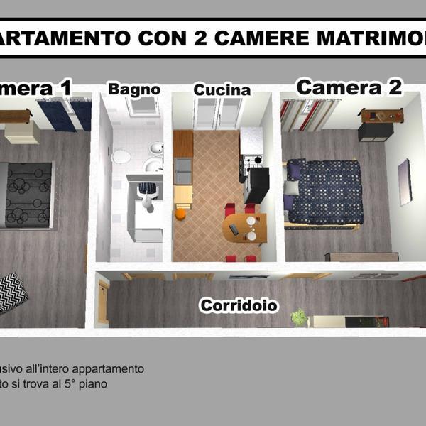 appartamento con 2 camere matrimoniali